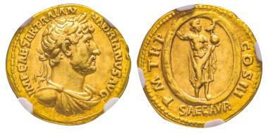 Nr. 97 - Hadrian, 117-138. Aureus, 119-122. Sehr selten. NGC VF* 5/5 - 5/5 Fine Style. Taxe: 9.000,- Euro.