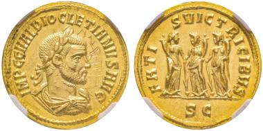 No. 176 – Diocletian, 284-305. Aureus, Cyzicus, 284-305. Very rare. NGC MS 5/5 - 2/5 graffito. Estimate: 10,000 euros.