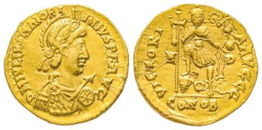 Nr. 360: Maiorian, 457-461. Solidus, Mediolanum, 457-468. Sehr selten. Sehr schön. Taxe: 8.000,- Euro.