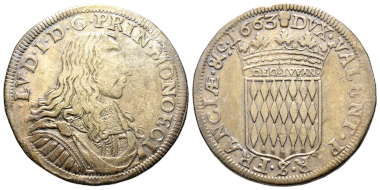 Nr. 468: Monaco. Louis I., 1662-1701. 1/2 Écu (= 30 Sols), 1663. Unpubliziert. Gutes sehr schön. Taxe: 30.000,- Euro.