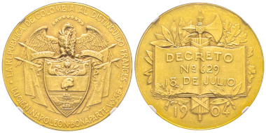 No. 656 – Columbia. Gold medal 1904 minted by the Republic of Columbia for Lucien Napoléon Bonaparte Wyse, son of the niece of Napoléon I (1844-1909). Extremely rare. NGC MS62. Estimate: 10,000 euros.