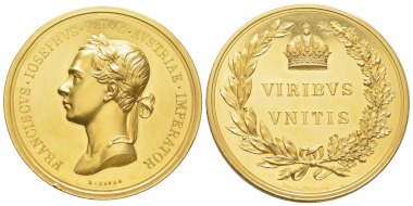 No. 572 – Austria. Franz Joseph, 1848-1916. Medal worth 100 ducats by Konrad Lange. FDC. Estimate: 20,000 euros.