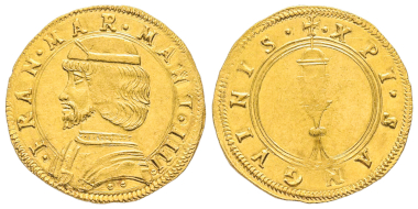 No. 1166 – Mantua. Francesco II Gonzaga, 1484-1519. Ducato, 1484-1495. Extremely rare. FDC. Estimate: 30,000 euros.
