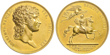 No. 1200 – Naples. Gold medal, Naples 1813. Minted in celebration of the return of Joachim Murat from the Russian Campaign. Designed by Antonio Canova(?). Julius Collection (this specimen). Unique. Small edge nick, otherwise FDC. Estimate: 50,000 euros.