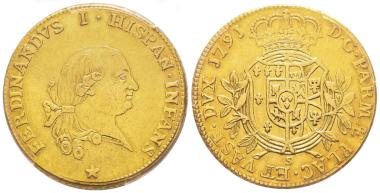 Nr. 1210: Parma. Ferdinando di Borbone, 1765-1802. 8 Doppie, 1791. Sehr selten. PCGS AU50. Taxe: 20.000,- Euro.