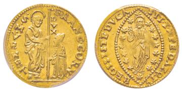 Nr. 1425: Venedig. Francesco Corner, 1656. Zecchino. Äußerst selten. PCGS MS62 (das schönste gegradete Exemplar). Taxe: 25.000,- Euro.