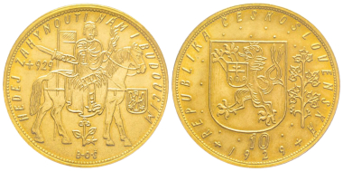 No. 1906 – Czechoslovakia. 10 ducats 1929. Only 1,564 specimens struck. PCGS MS66. The best graded specimen. Estimate: 15,000 euros.