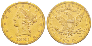 No. 1970 – USA. 10 dollars, New Orleans, 1883. Only 800 specimens struck. Extremely rare (only 40 to 50 known exemplars). PCGS AU53. Estimate: 15,000 euros.