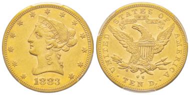 Nr. 1970: USA. 10 Dollars, New Orleans, 1883. Nur 800 Exemplare geprägt. Äußerst selten (nur 40 bis 50 bekannt). PCGS AU53. Taxe: 15.000,- Euro.