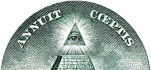 A masonic 'eye of God' watches over this US banknote which says