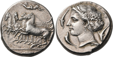 Lot 53: Sicily. Syracuse. Dionysios I, 405-367 BC. Tetradrachm, unsigned but by Parmenides, c. 395. Very rare. Extremely fine. Estimated: 37,500 CHF.