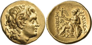 Lot 82: Kings of Thrace. Ptolemy Keraunos, 281-279 BC. Stater in the name and with the types of Lysimachos, Lysimacheia, 281-280. Of the greatest rarity, the second known example. Some very minor marks on the reverse, perhaps at the time of minting, otherwise, virtually as struck. Estimated: 32,500 CHF.