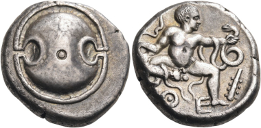 Lot 124: Boeotia. Thebes. Stater, circa 425-395 BC. Nearly extremely fine. Estimated: 15,000 CHF.