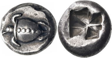 Lot 135: Islands off Attica, Aegina. Stater, circa 550-530/25 BC. Very rare. A remarkably elegant, toned coin, very well-struck and well-centered, of outstanding quality. Estimated: 55,000 CHF.