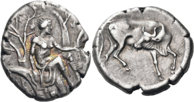Lot 145: Crete. Gortyna. Stater, circa 330-270 BC. Minor scuff on the obverse, otherwise, good very fine. Estimated: 55,000 CHF.