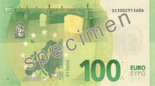 100 euros - Green. 147 x 77 mm. Press office of the European Central Bank.