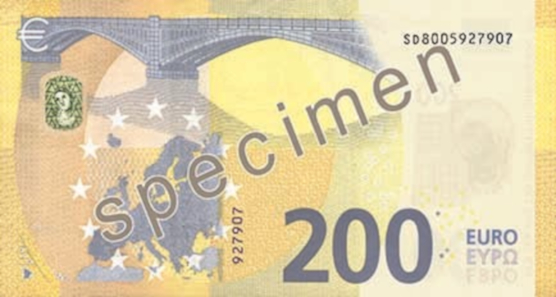 200 euros – Yellow-Brown. 153 x 77 mm. Press office of the European Central Bank.