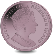 Ascension Island / 1 crown / pink titanium / 28.28 g / 36.10 mm / Mintage: 7.500.