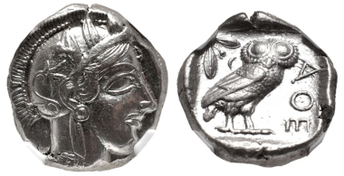 Lot 157: Attica, Athens. Tetradrachm, circa 454-404 BC. In NGC encapsulation, 4372822-001, graded Ch XF, Strike: 5/5, Surface: 4/5, full crest. Estimate: $1,000.