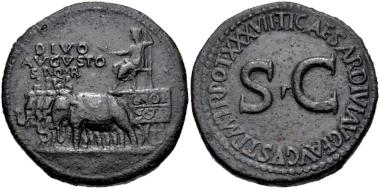 Lot 335: Divus Augustus. Died AD 14. Sestertius, struck under Tiberius, AD 35-36, Rome mint. Ex Egger XXXIX (15 January 1912), lot 660. VF. Estimate: $1,500.