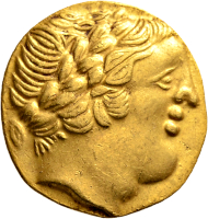 Gauls. Type Pons/Sainte Eanne. Gold stater after the coinage of Philipp II of Macedon, late 4th century B.C. Rare, nearly extremely fine.