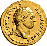 Vespasianus for Domitianus. Aureus 77/78, Rome, on the victory over the Chatti at the Lahn. Nearly extremely fine /extremely fine.