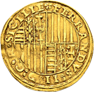 Italy. Kingdom of Naples. Ferdinand II of Aragon, 1495-1496. Ducato n. d. Extremely rare. Very fine.