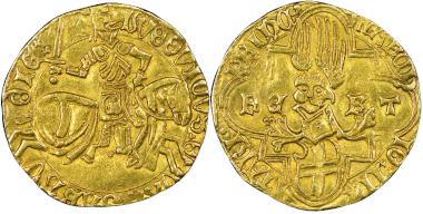 Ludovico, 1439-1465. Ducato d'oro, Cornavin. MIR 155b (R3). NGC AU53. Estimate: 4,000 euros. From Gadoury Auction (November 17, 2018), no. 1449.