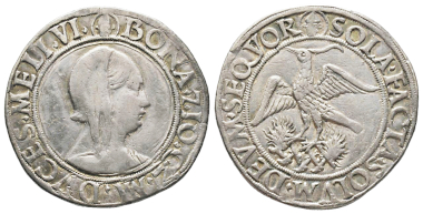 Bona di Savoia, 1476-1481. Testone, Milano, Gian Galeazzo Maria Sforza. MIR 218/1 (R3). Very rare. Very fine+. Estimate: 5,000 euros From Gadoury Auction (November 17, 2018), no. 1457.