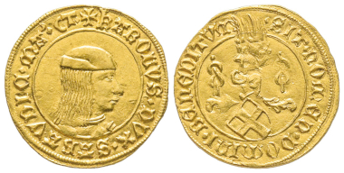 Carlo I., 1482-1490. Ducato d'oro, II tipo, Torino. MIR 223a var. (D/MA) (R9). Unedited and probably unique. Extremely fine. Estimate: 50,000 euros. From Gadoury Auction (November 17, 2018), no. 1460.