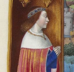 left: Obverse of the previous coin. right: Segment from Jean Colombe, Très Riches Heures du duc de Berry. Ms65, f. 75f.