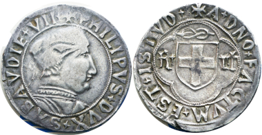 Filippo II, 1496-1497. Testone, I Tipo. MIR 277d (R8). Very fine+ / Extremely fine. Estimate: 20,000 euros. From Gadoury Auction (November 17, 2018), no. 1465.