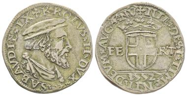 Carlo III, 1504-1553. Testone, VI Tipo, Aosta. Almost extremely fine. Estimate: 25,000 euros. From Gadoury Auction (November 17, 2018), no. 1469.