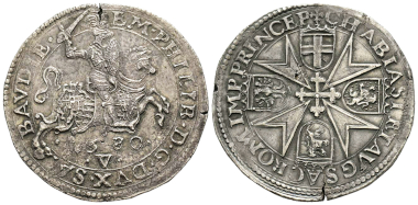 Emanuele Filiberto, 1553-1580. Tallero, Vercelli, 1580. MIR 505 (R10). Extremely rare. Obverse cleaned slightly, otherwise extremely fine. Estimate: 10,000 euros. From Gadoury Auction (November 17, 2018), no. 1483.