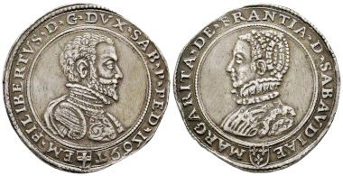 Emanuele Filiberto, 1553-1580. Scudo da 3 Lire, Turin, 1569, with Margherita di Francia. MIR 565 (R10). Extremely rare. Slightly cleaned field, otherwise extremely fine. Estimate: 50,000 euros. From Gadoury Auction (November 17, 2018), no. 1504.