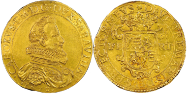 Carlo Emanuele, 1580-1630. 10 Scudi d'oro, II Tipo, Turin, 1610. MIR 568 (R10). Only three known specimens. NGC MS60. Estimate: 200,000 euros. From Gadoury Auction (November 17, 2018), no. 1505.