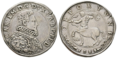 Carlo Emanuele, 1580-1630. Ducatone, II Tipo, Turin, 1588. MIR 600b (R6). Very rare. Finest specimen known. Almost extremely fine. Estimate: 12,000 euros. From Gadoury Auction (November 17, 2018), no. 1511.