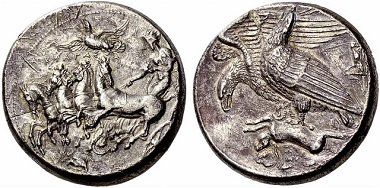 This decadrachm from Akragas may well be the most expensive Greek coin. From Numismatica Ars Classica NAC AG Auction 66 (2012), No. 6. Photo: Numismatica Ars Classica NAC AG.