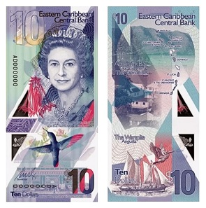 The new $5 and $10 banknotes issued by the ECCB. Image: Eastern Caribbean Central Bank.