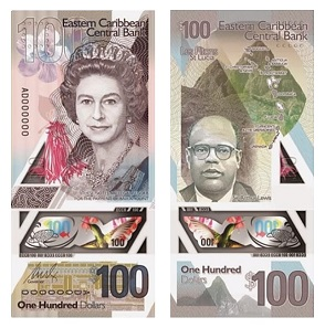 The new $50 and $100 banknotes issued by the ECCB. Image: Eastern Caribbean Central Bank.