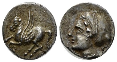 Lot 62: Corinthia. Drachm, circa 360-350 B.C. From the E.E. Clain-Stefanelli collection. Extremely fine. Starting bid: 80 GBP.