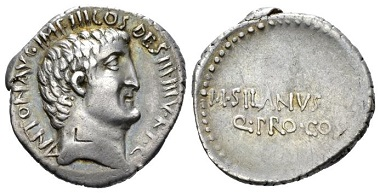 Lot 428: M. Antonius with M. Silanus. Denarius, 33 B.C., mint moving with M. Antonius. Rare. Small banker's mark on obverse. About Extremely Fine. Starting bid: 250 GBP.