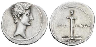 Lot 430: Octavian, 32-27 B.C. Denarius, circa 29-27 B.C. Rare. Extremely Fine. Starting bid: 1,500 GBP.