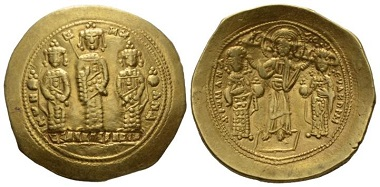 Lot 635: Romanus IV Diogenes, with Eudocia, Michael VII, Constantius, and Andronicus, 1068-1071. Histamenon, circa 1068-1071, Constantinopolis. Good Very Fine. Starting bid: 200 GBP.