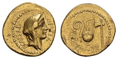 Los 20126: Römische Republik. Iulius Caesar und Aulus Hirtius, 46 v.u.Z. Fassungsspuren. Ex Sammlung Hermann Josef Abs. Ausruf: 3.000 Euro.