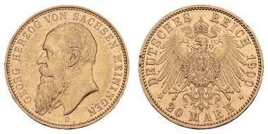 Los 20972: Deutsches Kaiserreich. Sachsen-Meiningen. Georg II., 1866-1914. 20 Mark 1900. Aktuelle Expertise Franquinet liegt vor. Ausruf: 6.800 Euro.