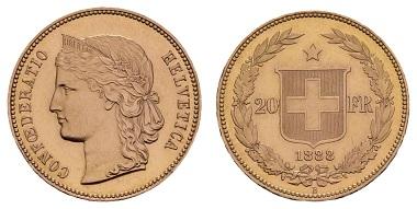 Los 21913: Schweiz. 20 CHF 1888. Mit aktueller NGC-Prüfung im Slab, ex SKA, Zürich. Ausruf: 5.000 Euro.