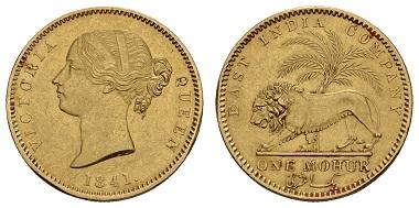 Los 22135: Indien-Britische Herrschaft. Viktoria, 1837-1901. Mohur 1841. Ausruf: 2.000 Euro.