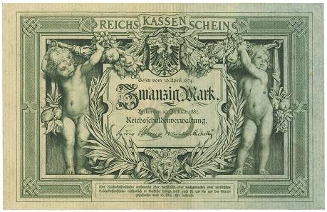 Los 22500: Deutsches Reich. 20 Mark 1882. Reichskassenschein vom 10. Januar 1882, K Nr 463337, leichter senkrechter Mittelbug, EH II. Ausruf: 2.000 Euro.