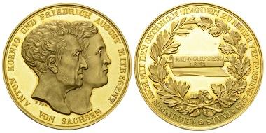 Los 164: Königreich Sachsen. Anton. Medaille mit 67,53 g, 1831.